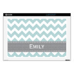 Light Blue and Gray Chevron 17 Inch Laptop Skin