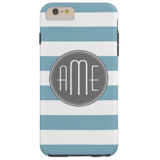 Light Blue and Gray Striped Pattern Monogram Tough iPhone 6 Plus Case