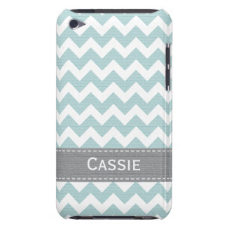 Light Blue and Grey Chevron iPod Touch 4g Case Cov Barely There iPod Case