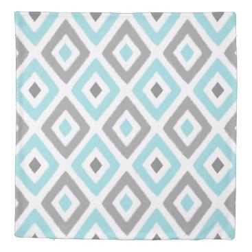 Aztec Themed Light Blue and Grey Ikat Diamond Pattern Duvet Cover