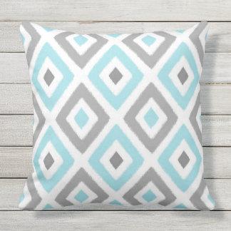 Light Blue and Grey Ikat Diamond Pattern Outdoor Pillow