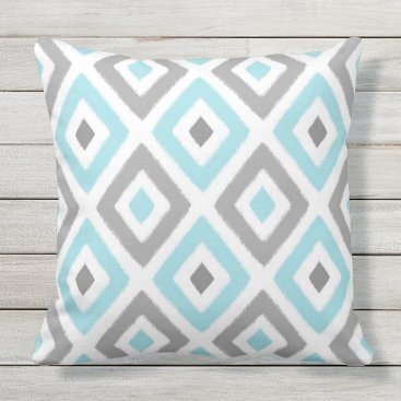 Aztec Themed Light Blue and Grey Ikat Diamond Pattern Outdoor Pillow