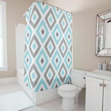 Aztec Themed Light Blue and Grey Ikat Diamond Pattern Shower Curtain