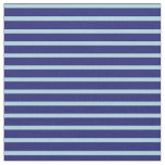 [ Thumbnail: Light Blue and Midnight Blue Lined Pattern Fabric ]