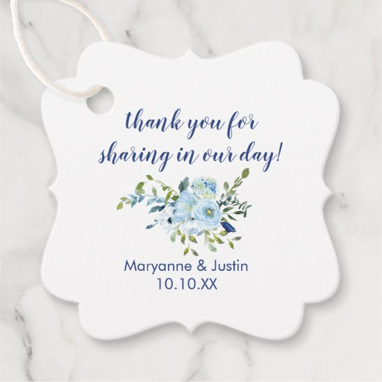 Light Blue and Navy Blue Watercolor Floral Wedding Favor Tags