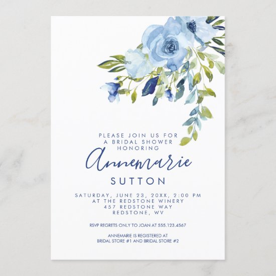Light Blue and Navy Floral Bridal Shower   Invitation