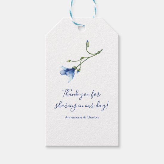 Light Blue and Navy Floral Wedding Thank You | Gift Tags