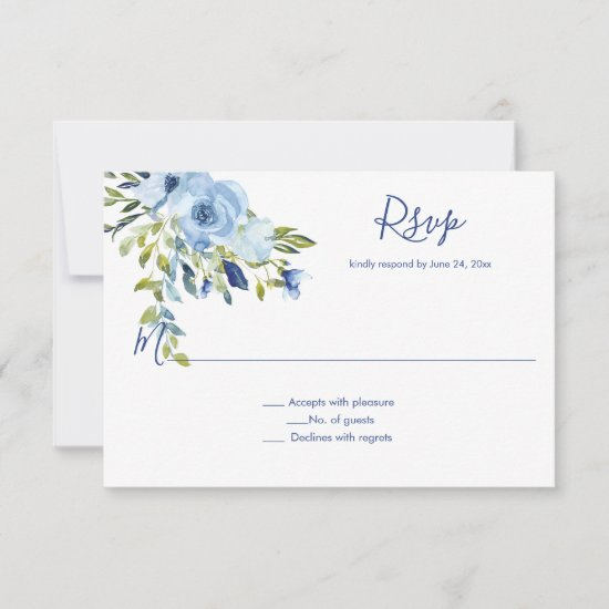 Light Blue and Navy Watercolor Floral | RSVP Card