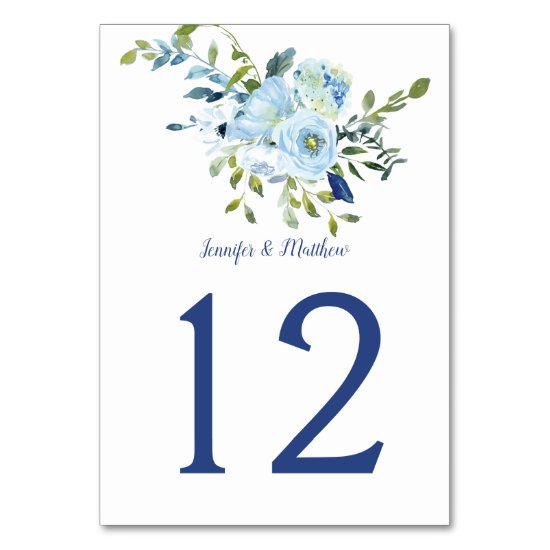 Light Blue and Navy Watercolor Floral | Table Number
