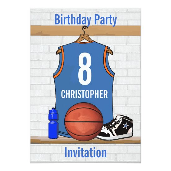 Light Blue and Orange Basketball Jersey Birthday Invitation