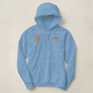 Light Blue and Orange College Champions Embroidered Hoodie