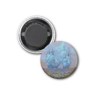 Light blue and orange sea sailing boats 1 inch round magnet