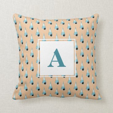 Beach Themed Light Blue and Peach Seashell Monogram Throw Pillow