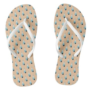 Beach Themed Light Blue and Peach Seashell Pattern Flip Flops