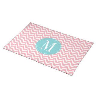 Light Blue and Pink Chevron Custom Monogram Placemat