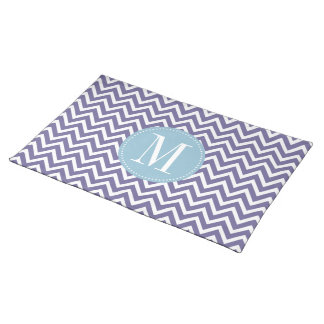 Light Blue and Purple Chevron Custom Monogram Cloth Placemat