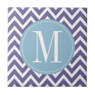 Light Blue and Purple Chevron Custom Monogram Tile