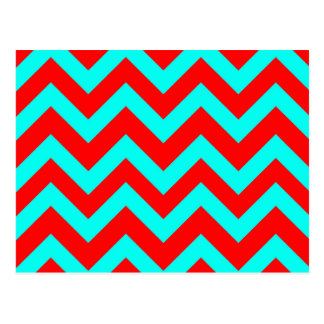 Light Blue And Red Chevrons Postcard