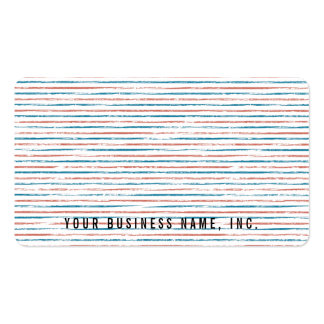Light Blue and Red Letterpress Stripes Horizontal Business Card