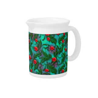 Light Blue and Red Rose Pitcher