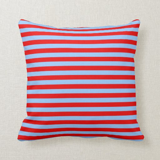 Blue Red Throw Pillow : Light Blue and Red Stripes Throw Pillow Zazzle