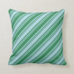 [ Thumbnail: Light Blue and Sea Green Pattern of Stripes Pillow ]