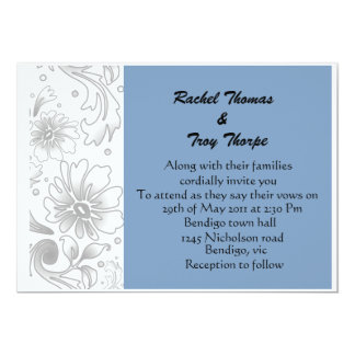 Light blue and silver flower wedding invite