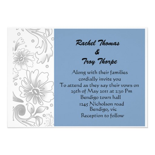 Light blue and silver flower wedding invite