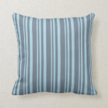 [ Thumbnail: Light Blue and Slate Gray Lined Pattern Pillow ]
