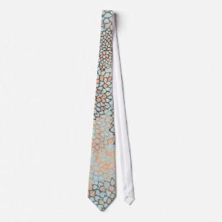 Light Blue and Tan Flower Burst Design Tie