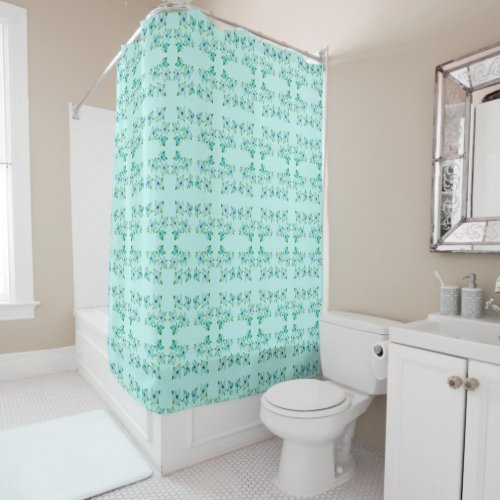 Light Blue and Teal Floral Shower Curtain