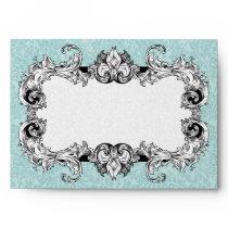 Light Blue and White A7 Gothic Baroque Envelopes