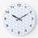 Light Blue and White Baby Stroller Pattern. Round Clock