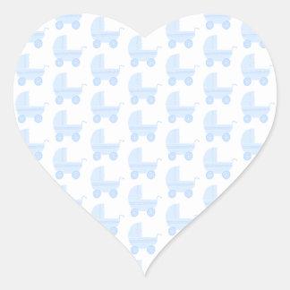 Light Blue and White Baby Stroller Pattern. Heart Sticker