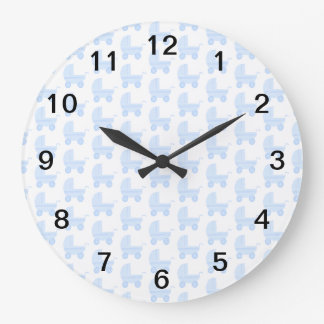 Light Blue and White Baby Stroller Pattern. Large Clock