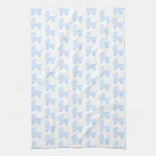 Light Blue and White Baby Stroller Pattern. Towels