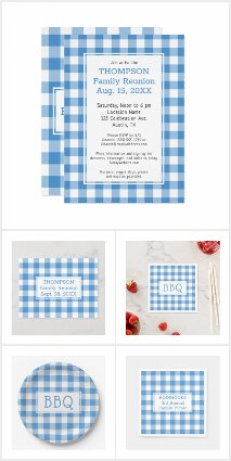 Light Blue and White Buffalo Check Party Supplies