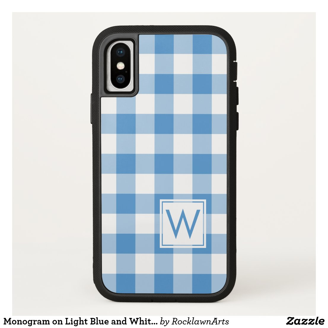 Light Blue and White Buffalo Plaid with Monogram iPhone X Case