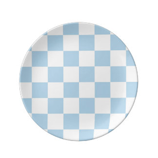 Light Blue and White Checker Pattern Plate