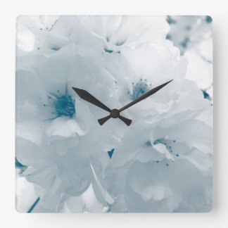 Light blue and white cherry blossom sakura flowers square wall clock