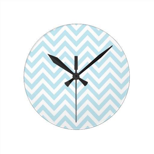 Light Blue and White Chevron Stripe Pattern Round Clocks