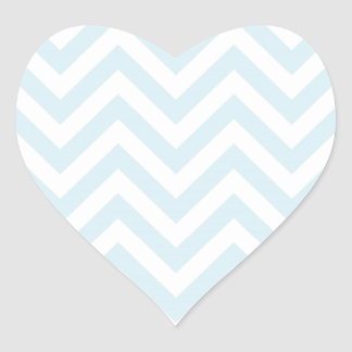 Light Blue and White Chevron Stripe Pattern Heart Sticker