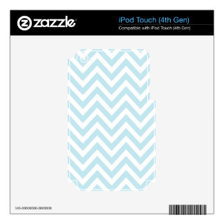 Light Blue and White Chevron Stripe Pattern iPod Touch 4G Decals