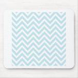 Light Blue and White Chevron Stripe Pattern Mousepads