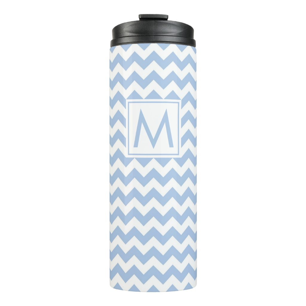 Light Blue and White Chevron Stripes with Monogram Thermal Tumbler