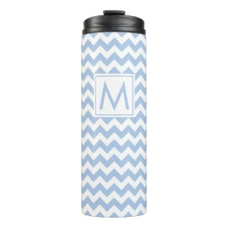 Light Blue and White Chevron Stripes with Monogram Thermal Tumbler