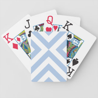 Light Blue and White Chevrons Bicycle Playing Cards