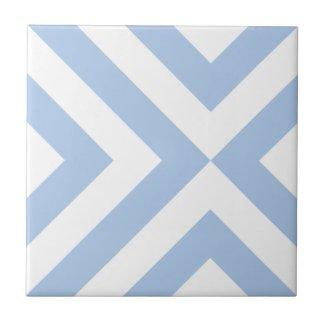Light Blue and White Chevrons Ceramic Tile