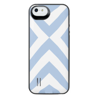 Light Blue and White Chevrons Uncommon Power Gallery™ iPhone 5 Battery Case