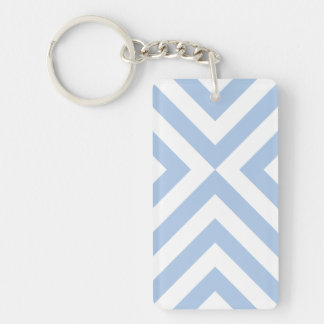 Light Blue and White Chevrons Double-Sided Rectangular Acrylic Keychain